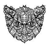 Cabeça tirada mão do gato do esboço da garatuja Imagens de Stock Royalty Free