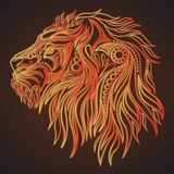 Cabeça tirada mão do leão ilustração stock