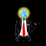 Cabeça vermelha da terra do globo do laço do terno da silhueta do homem Foto de Stock
