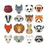 Cabeças animais ajustadas Fotografia de Stock Royalty Free