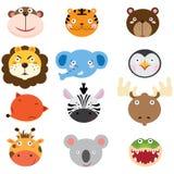 Cabeças animais bonitos ajustadas Imagens de Stock Royalty Free