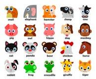 Cabeças animais engraçadas ilustração ajustada do vetor Fotos de Stock