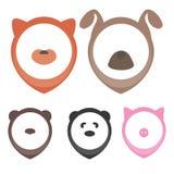 Cabeças animais para apontar no mapa: cão, gato, porco, urso, panda Imagens de Stock Royalty Free