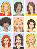 Cabeças bonitas das mulheres ilustração do vetor