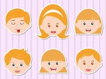 Cabeças das meninas/meninos com cabelo louro dourado Foto de Stock Royalty Free