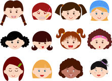 Cabeças das meninas, mulheres, miúdos (fêmea ajustada) diferentes Fotografia de Stock Royalty Free