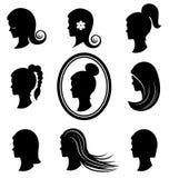 Cabeças das mulheres com cabelo bonito Fotografia de Stock Royalty Free