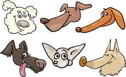 Cabeças de cães felizes dos desenhos animados ajustadas Imagem de Stock