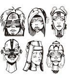 Cabeças de cyborgs fêmeas Imagens de Stock Royalty Free