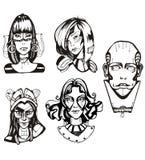 Cabeças de cyborgs fêmeas Imagens de Stock