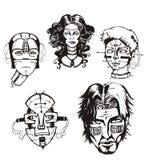 Cabeças de cyborgs fêmeas Fotos de Stock Royalty Free
