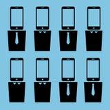 Cabeças do smartphone dos trabalhadores de escritório Imagens de Stock Royalty Free