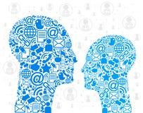 Cabeças dos ícones de uma comunicação Imagens de Stock Royalty Free