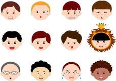 Cabeças dos meninos, homens, ethnics diferente dos miúdos (macho) Fotografia de Stock