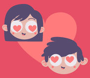 Cabeças dos pares dentro do coração Imagem de Stock Royalty Free