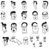 Cabeças e faces engraçadas dos desenhos animados Imagens de Stock