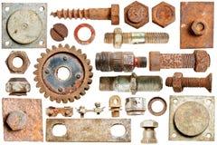 Cabeças e parafusos oxidados velhos do parafuso da coleção Fotografia de Stock
