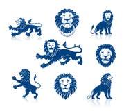 Cabeças e silhuetas dos leões ajustadas Fotos de Stock Royalty Free