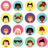 Cabeças fêmeas multinacionais do perfil do avatar da cara Imagem de Stock Royalty Free
