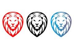 Cabeças isoladas coloridas dos leões da árvore ilustração stock