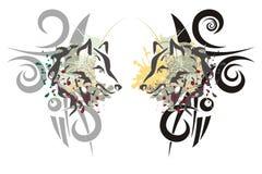 Cabeças tribais do lobo Imagens de Stock Royalty Free