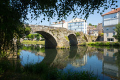 Cabe river and old  bridge at Monforte de Lemos Royalty Free Stock Photo