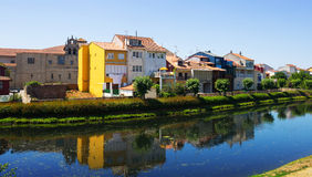 Cabe river and old houses at Monforte de Lemos Stock Image
