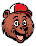 Cabeça alegre do urso dos desenhos animados que veste um boné de beisebol Imagens de Stock