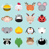 A cabeça animal dos desenhos animados bonitos ajustou 2 Imagem de Stock Royalty Free