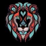 Cabeça colorida modelada do leão Africano, projeto indiano da tatuagem Imagem de Stock