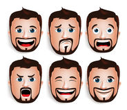 Cabeça considerável realística do homem com expressões faciais diferentes Fotos de Stock Royalty Free
