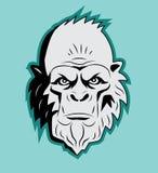 Cabeça de Bigfoot do abominável homem das neves Vetor sasquatch Boneco de neve abominável Monstro do abominável homem das neves Imagens de Stock