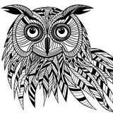 Cabeça do pássaro da coruja como o símbolo do Dia das Bruxas para o projeto da mascote ou do emblema, s Fotos de Stock Royalty Free