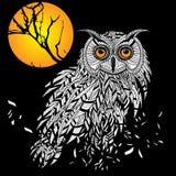 Cabeça do pássaro da coruja como o símbolo do Dia das Bruxas para o projeto da mascote ou do emblema, tal logotipo. Fotos de Stock