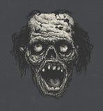 Cabeça do zombi, mão tirada,  Foto de Stock