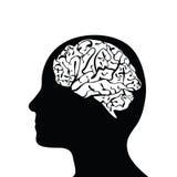 Cabeça e cérebro mostrados em silhueta Fotografia de Stock