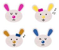 Cabeças bonitos do coelho ajustadas Fotos de Stock Royalty Free