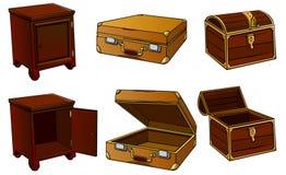 Cabeceira-tabela, mala de viagem, caixa Imagem de Stock