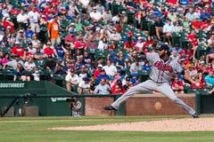 Cabeceo de la jarra del Atlanta Braves con el sitio para la copia Foto de archivo libre de regalías