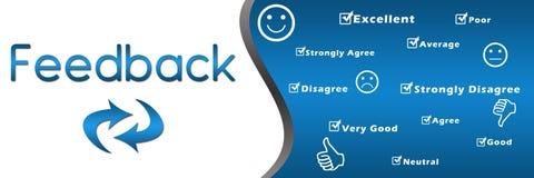 Cabecera con palabras claves - azul del feedback stock de ilustración