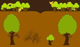 Cabecera del vector con los árboles y los elementos de maderas Fotografía de archivo libre de regalías