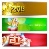 Cabecera del Web site del Año Nuevo y conjunto de la bandera. Imagen de archivo