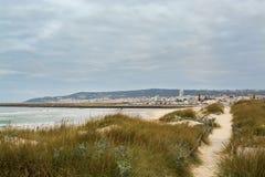 Cabedelo海滩在菲盖拉达福什,葡萄牙 图库摄影