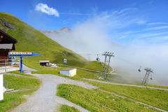 Cabel cars go to First station, Grindelwald Switzerland Royalty Free Stock Images
