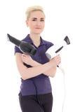 Cabeleireiro bonito da mulher com hairdryers isolado no branco foto de stock royalty free