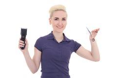 Cabeleireiro bonito novo feliz da mulher com ajustador do cabelo e s Foto de Stock Royalty Free