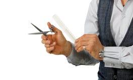 Cabeleireiro com ferramentas do trabalho Fotos de Stock