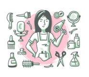 Cabeleireiro Doodle Profession ilustração do vetor