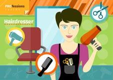 Cabeleireiro fêmea no secador de cabelo guardando uniforme Imagem de Stock