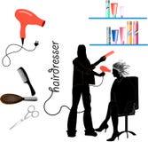 Cabeleireiro, ferramentas e equipamento Imagem de Stock